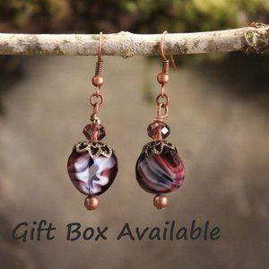 Vintage Glass Purple Marble/Copper Earrings